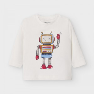 Tricou maneca lunga play with robot bebe baiat 2040 MYBL06V