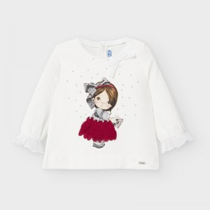 Bluza alba cu imprimeu fustita rosie fetita MAYORAL 2054 MYBL47V