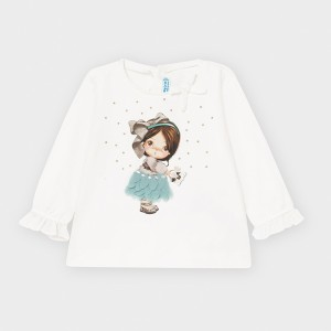 Bluza alba cu imprimeu fustita verde fetita MAYORAL 2054 MYBL47V