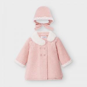 Palton roz tricot cu boneta fata MAYORAL 2459 MYG08V