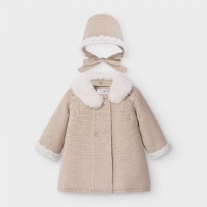 Palton bej tricot cu boneta fata MAYORAL 2459 MYG08V