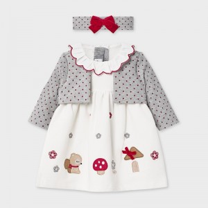 Set rochie gri cu bentita fetita  MAYORAL 2851 MYR01V