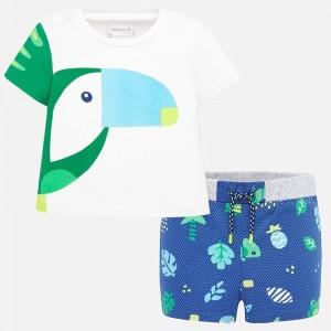 Set tricou si pantaloni scurti cordon bebe baiat nou-nascut 01278 MYSET06P