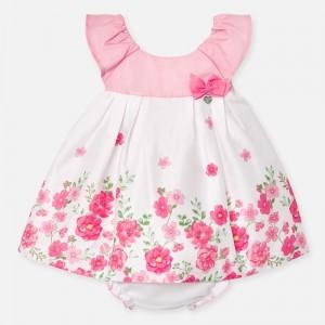 Rochie satin imprimeu si chilotei bebe fetita nou-nascuta 1880 MYR34P