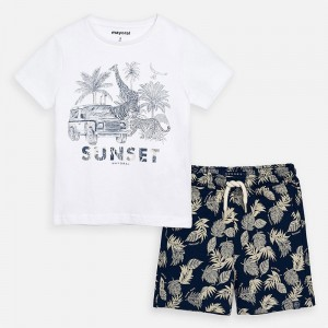 Set tricou si bermude imprimeu baiat 03625 MYSET44P