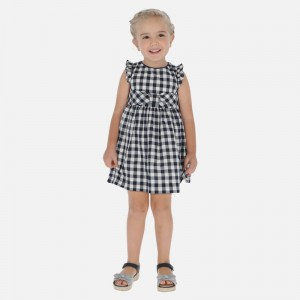 Rochie patratele alb-albastre fata MAYORAL 3933 MYR123W