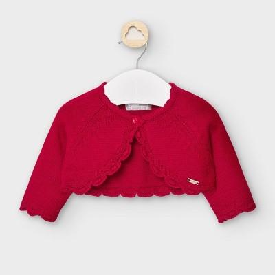 Bolero rosu scurt tricot new born fata MYBO102Y