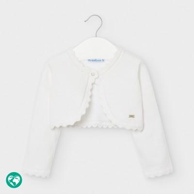 Bolero alb tricot basic bebe fetita 00308 MYBO101Y