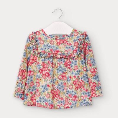Bluza flori rosii poplin bebe fetita 02136 MYCM103Y