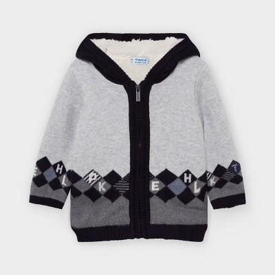 Jacheta gri tricot captusita romburi bebe baiat 02355 MYG23V