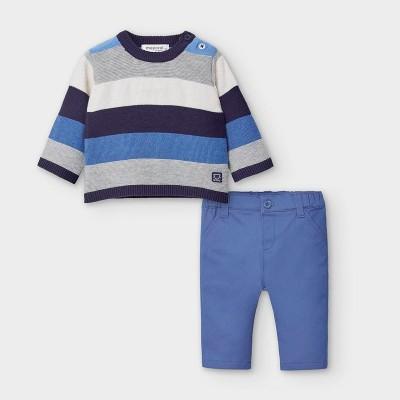 Set bleu pulover si pantaloni nou-nascut baiat 2570 MYSET21V