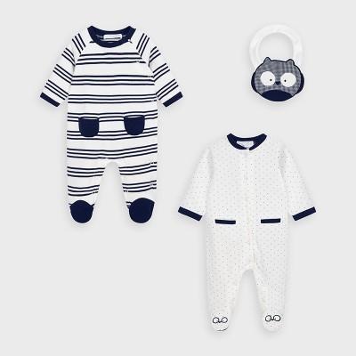 Set 2 pijamale alb-bleumarin si bavetica baiat MAYORAL 2763 MYSET11V