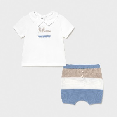 Set pantaloni scurti Ecofriends dungi nou-nascut baiat 01203 MYSET03X