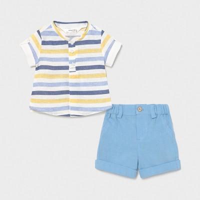Set pantaloni scurti si camasa nou-nascut baiat 01217 MYCS03X