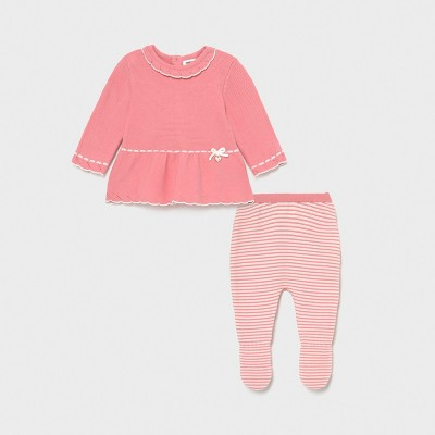 Set roz pal pantaloni cu botosei tricot Ecofriends new born fata 01561 MYSET04X