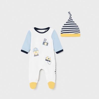 Pijama cu caciulita bleu nou-nascut baiat 01632 MYSET07X