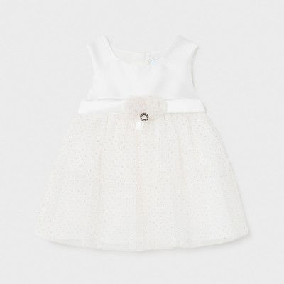 Rochie alba combinata tul bebe fetita 01963 MYR20X