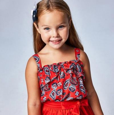 Bluza rosie bretele imprimeu fetita MAYORAL 3195 MYBL71X
