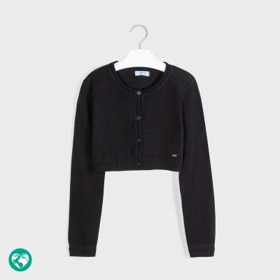 Cardigan negru tricot basic fata 00326 MYBO104Y