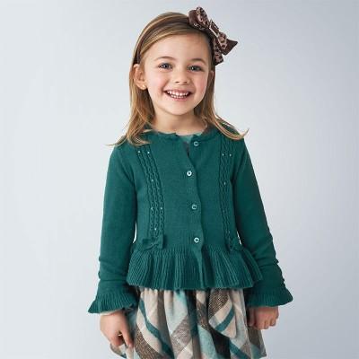 Cardigan verde tricot detalii gaurele fetita MAYORAL 4350 MYBL102Y