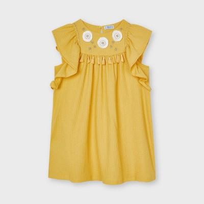Rochie galbena brodata aplicatii fetita MAYORAL 3940 MYR49X