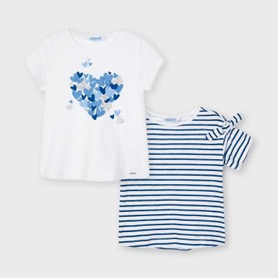 Tricou alb dungi albastre fetita MAYORAL 3009 MYBL41X