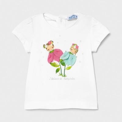 Tricou alb Ecofriends aplicatii flori fetita MAYORAL 1079 MYBL60X