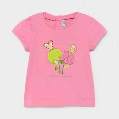 Tricou roz Ecofriends aplicatii flori fetita MAYORAL 1079 MYBL60X