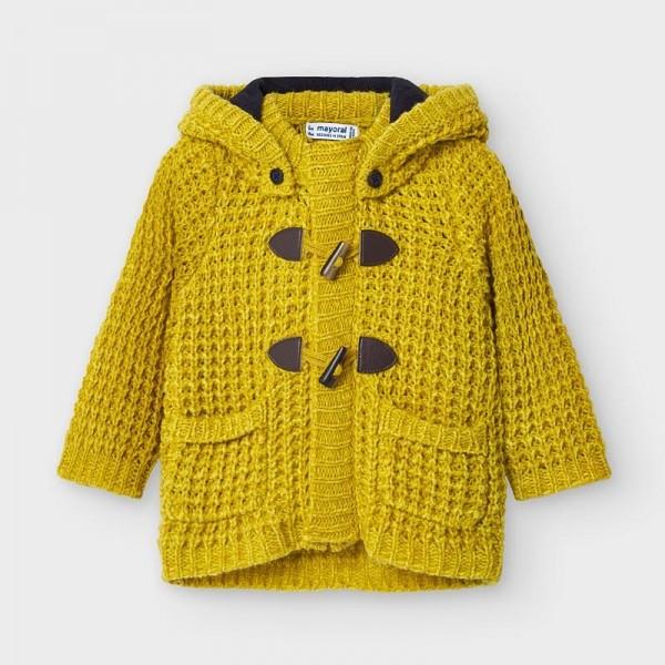 Jacheta mustar tricot nasturi bebe baiat 02354 MYG103Y