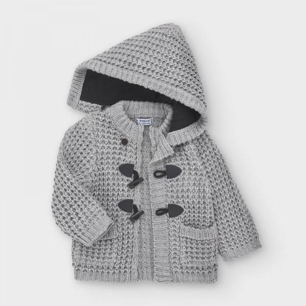Jacheta gri tricot nasturi bebe baiat 02354 MYG103Y