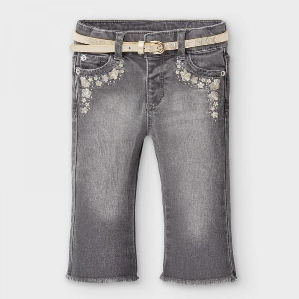 Pantaloni gri lungi denim clopot bebe fetita MYBG101Y