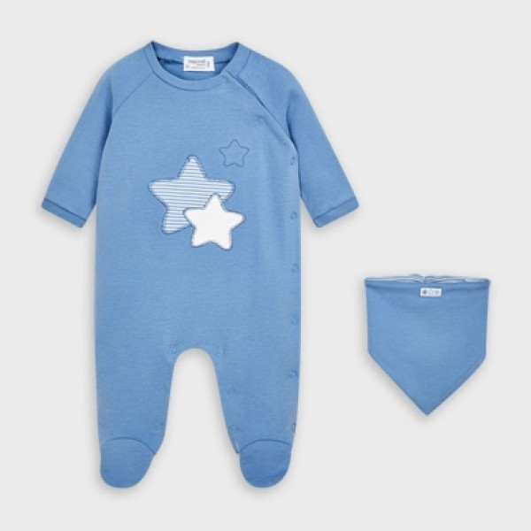 Set Pijama si bavetica nou-nascut baiat 02769 MYSET28V