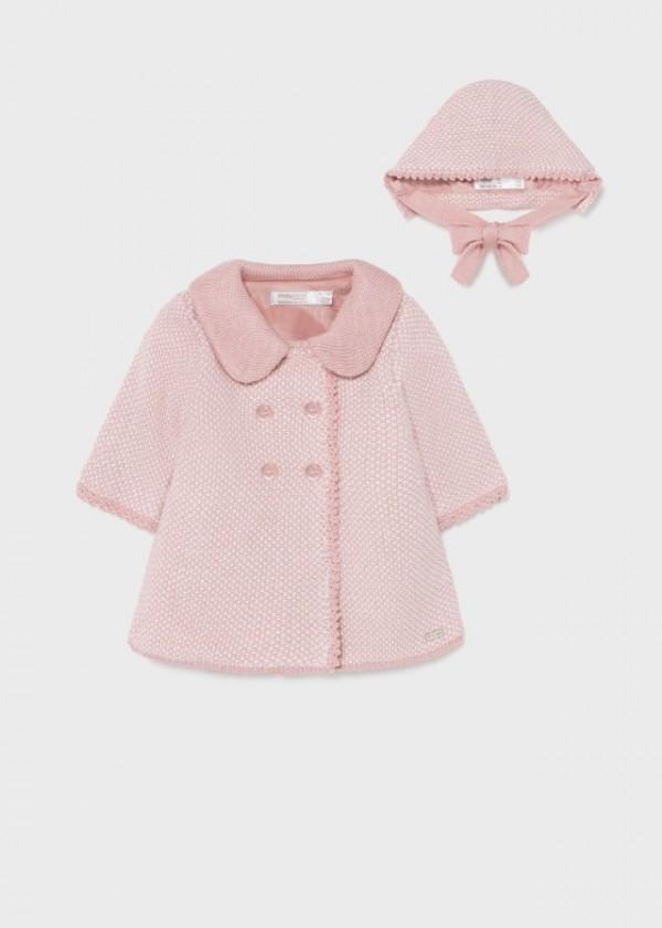 Palton tricot cu caciulita nou-nascut fata 2403 MYG06Y