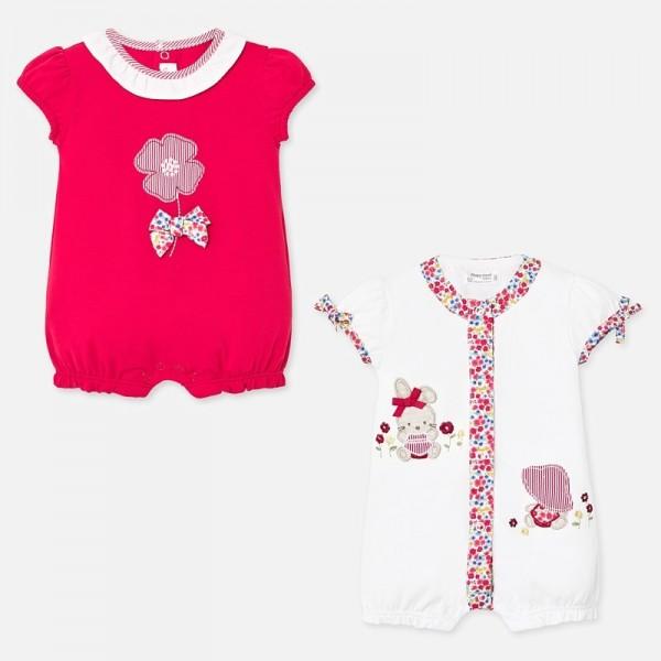 Set pijamale scurte cu aplicatii bebe fetita nou-nascuta 01759 MYSET61P