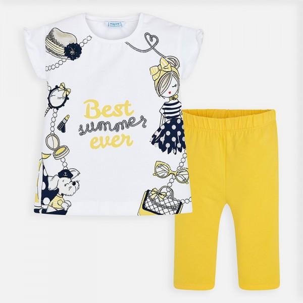 Set tricou imprimeu si pantaloni trei sferturi fetita MAYORAL 3546 myset29p