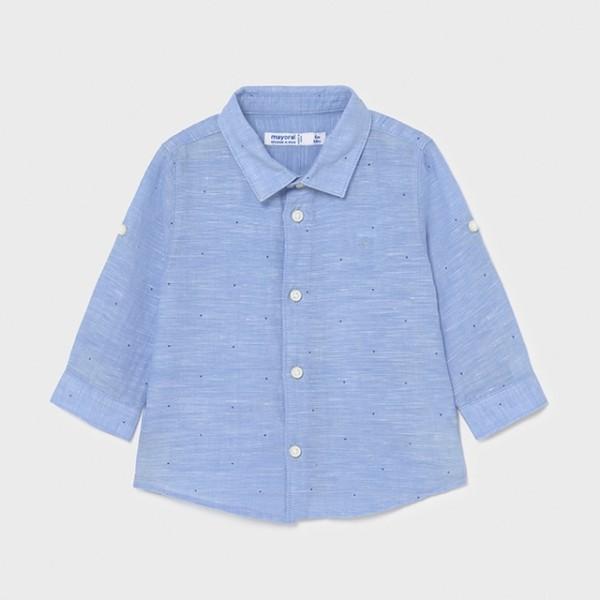 Camasa bleu basic maneca lunga in bebe baiat 117 MYCM07X
