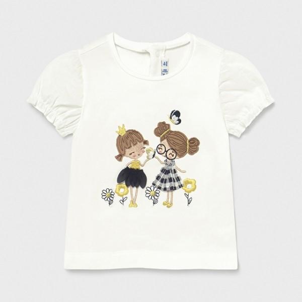 Tricou alb imprimeu albastru aplicatii fetita MAYORAL 1078 MYBL36X