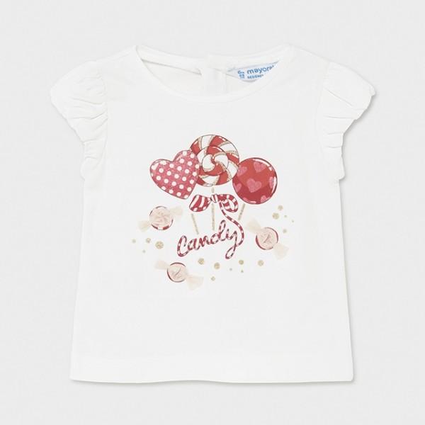 Tricou alb-rosu Ecofriends acadele fetita MAYORAL 1081 MYBL83X