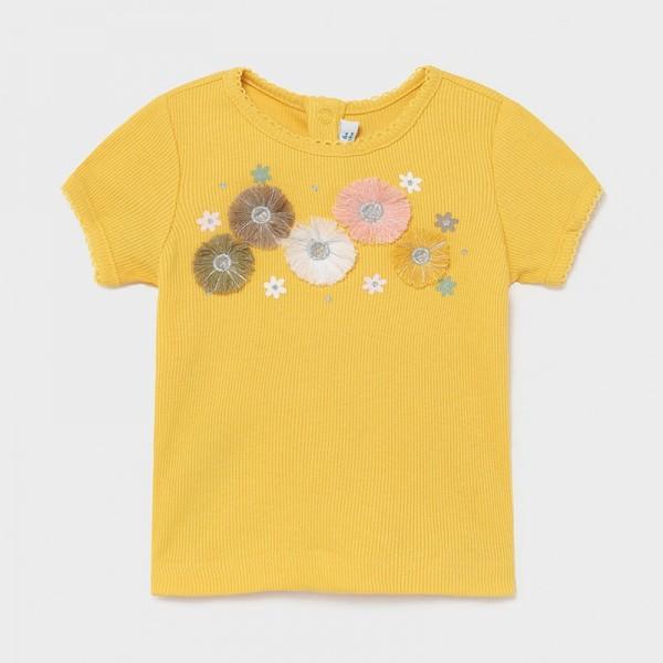 Tricou galben maneca scurta textura dungi bebe fetita 1084 MYBL27X