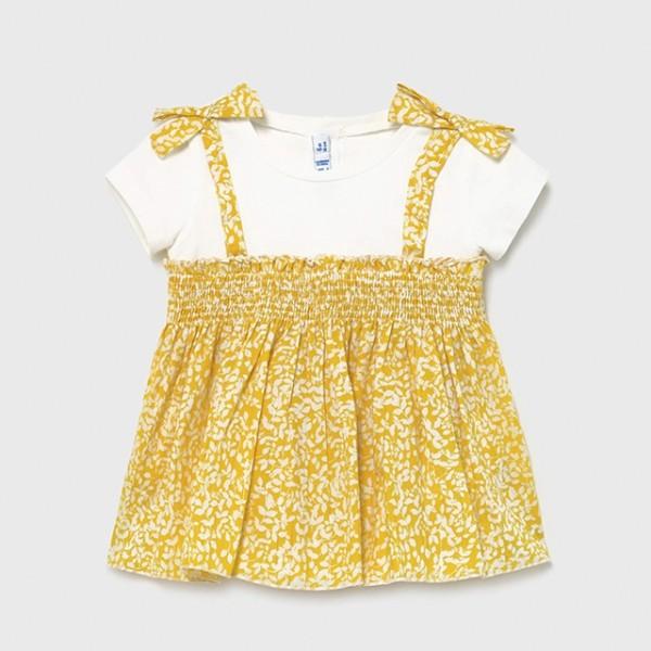 Bluza mustar combinata bebe fetita 01178 MYBL95X