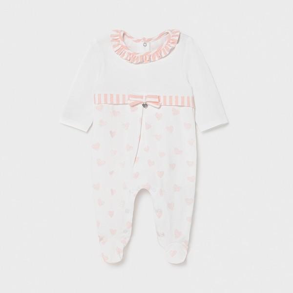 Pijama roz inimioare new born fata 01604 MYPIJA02X
