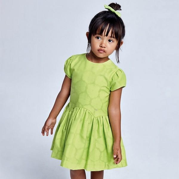 Rochie verde jacquard floare fetita 03920 MYR106X