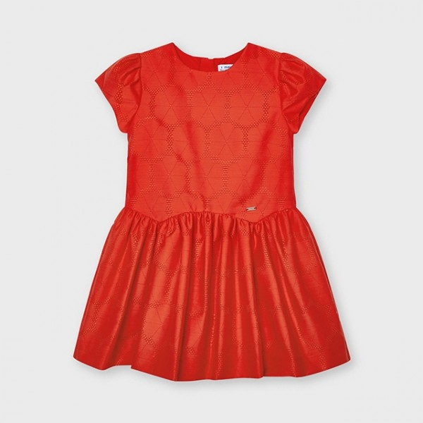 Rochie rosie jacquard floare fetita 03920 MYR106X
