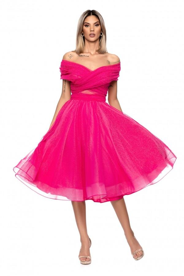 Rochie roz tull midi BBY-R114X