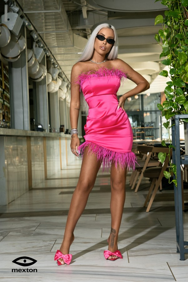Rochie roz pene Mexton MEXR8755X