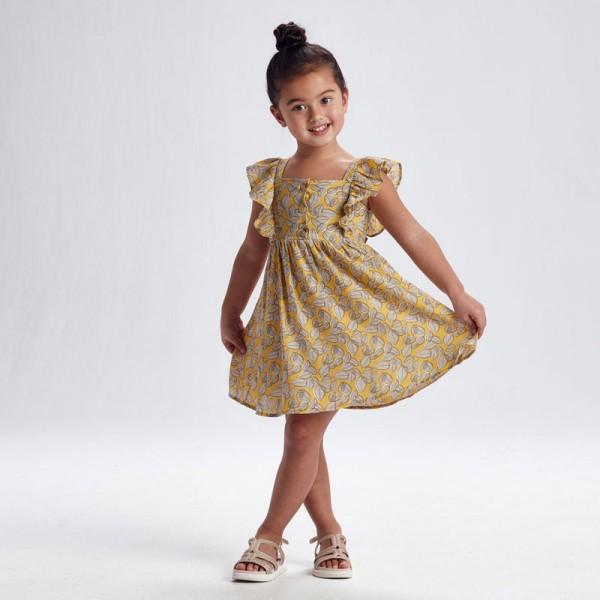Rochie galbena imprimeu frunze fetita MAYORAL 3934 MYR46X