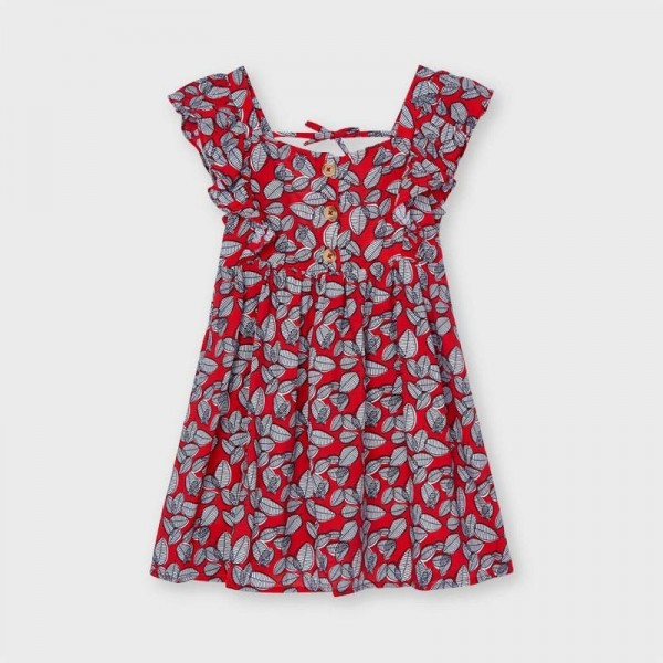 Rochie rosie imprimeu frunze fetita MAYORAL 3934 MYR46X