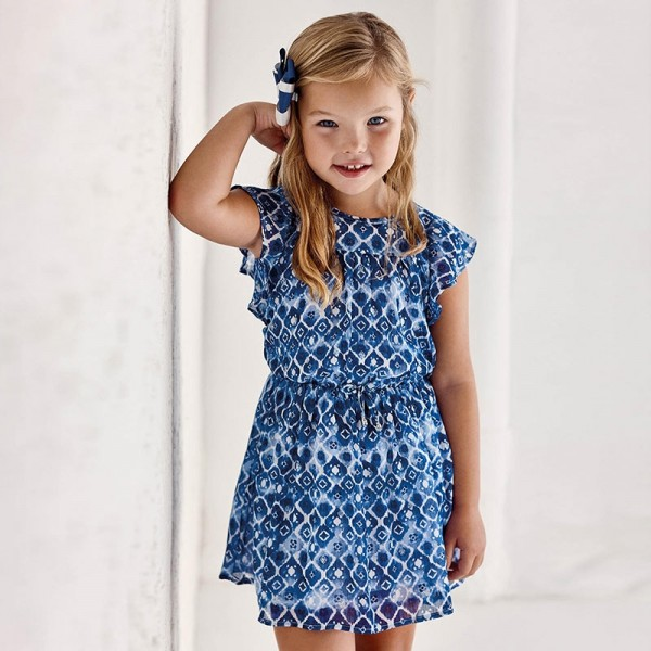 Rochie albastra sifon imprimeu fetita MAYORAL 3937 MYR47X