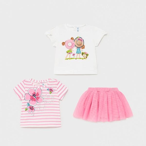 Set roz fusta 3 piese bebe fetita 1997 MYCS25X