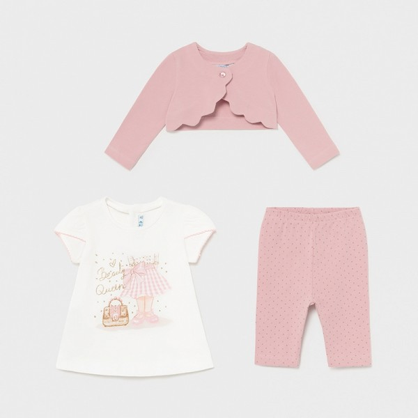Set roz leggings 3 piese fetita MAYORAL 1706 MYSET13X